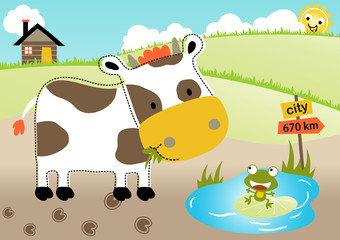 Farm land with cow and frog, vector cartoon illustration