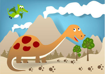 Dinosaurs cartoon on volcanoes background, vector cartoon illustration