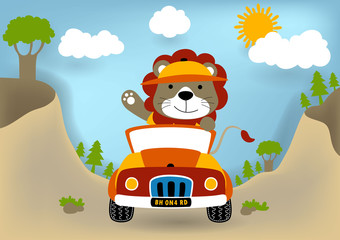 Animal cartoon driving a car, vector cartoon illustration