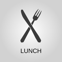 Lunch icon. Lunch symbol. Flat design. Stock - Vector illustration