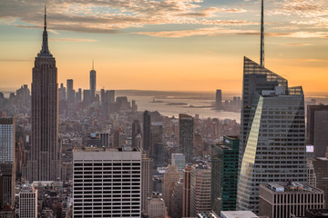 Incredble view of the Manhattan Skyline just before Sunset