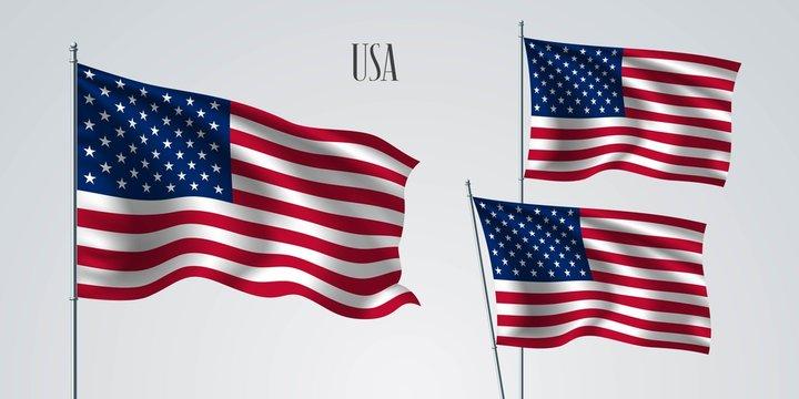 USA waving flag set of vector illustration