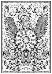 Rooster symbol with clock, sun, baroque decorations and vignette ribbons in frame. Fantasy engraved illustration for t-shirt, print, card, tattoo design. Zodiac animals of eastern calendar