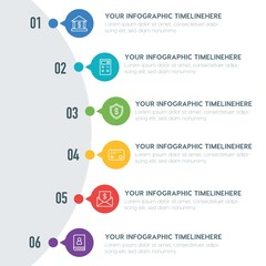 Flat business, money infographic timeline template with 7 options for presentations, advertising, annual reports