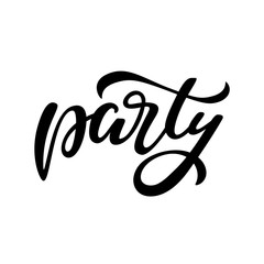 Party lettering sign isolated on white background. Vector vintage illustration. Graphic element for club banner, poster, invitation design.