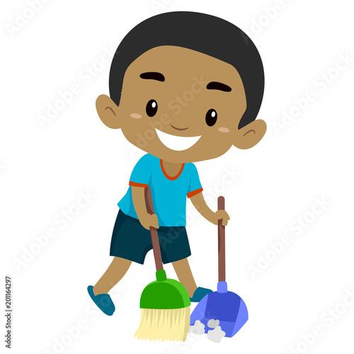 """Vector Illustration of a Black Boy Kid sweeping the Floor ..."