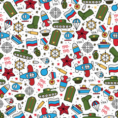 Seamless vector pattern of military icons on a white background. Wrapping paper. Great Victory Day - Russian national holiday on 9 May.