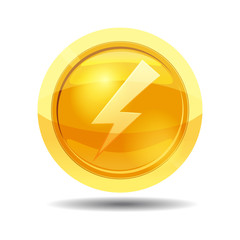 Game coin with lightning, game interface, gold, vector, cartoon style, isolated