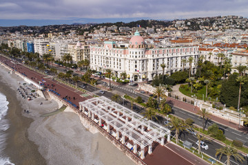 Fotobehang Nice Nice, France, Aerial view of promenade des Anglais, Cote d'Azur,