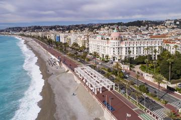 Türaufkleber Nice Nice, France, Aerial view of promenade des Anglais, Cote d'Azur,
