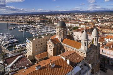 France, Var, Aerial view of Saint Raphael, Harbor and Notre Dame de la Victoire church,
