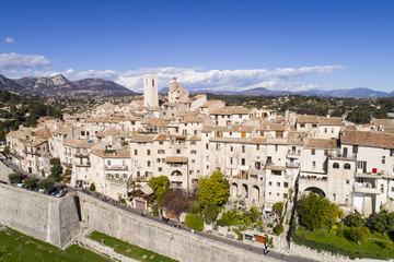 Aerial view of St Paul de Vence, a Famous perched village on French Riviera.