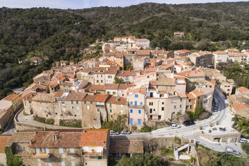 Aerial view of Ramatuelle, Famous Typical village in the south of France