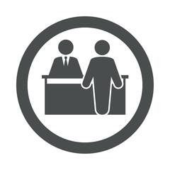 Icono plano mostrador atencion al publico en circulo color gris