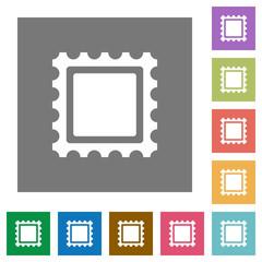 Postal stamp square flat icons