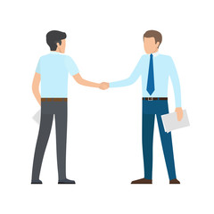 People Shaking Hands on Vector Illustration White