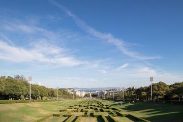 View on Lisbon from Miradouro Park Eduardo VII, Portugal