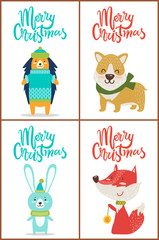Merry Christmas Set of Posters with Funny Animals