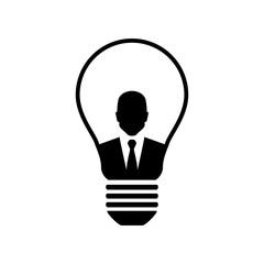 Icono plano hombre de negocios en bombilla en color negro