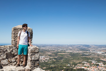 Tourist visiting Castle of Moors in Sintra