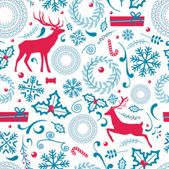 Christmas Pattern Lots of Icon Vector Illustration