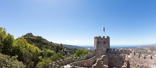 Panoramic view of Castle of the Moors wall in Sintra, Portugal