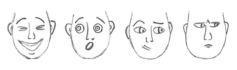 Hand-drawn cartoon faces