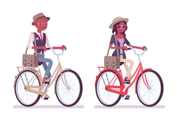 Black intelligent smart casual man and attractive woman riding bike
