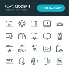 Modern Simple Set of folder, video, photos, files Vector outline Icons. ..Contains such Icons as  file,  fashion,  bright,  flash,  dslr and more on white background. Fully Editable. Pixel Perfect