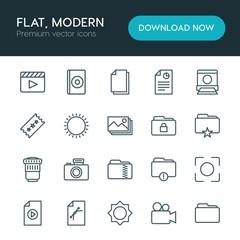 Modern Simple Set of folder, video, photos, files Vector outline Icons. ..Contains such Icons as  space,  lens, business,  camera,  design and more on white background. Fully Editable. Pixel Perfect