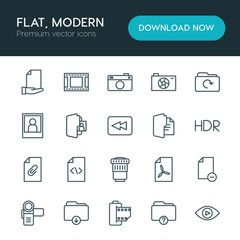 Modern Simple Set of folder, video, photos, files Vector outline Icons. ..Contains such Icons as  lens,  remove,  digital,  icon,  caption and more on white background. Fully Editable. Pixel Perfect