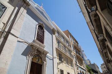 Church facade and houses in Lisbon street