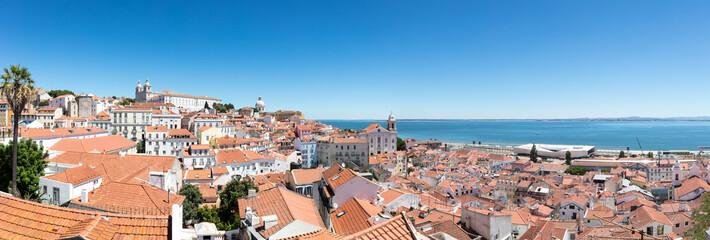 Panorama of Lisbon alfama district and ocean