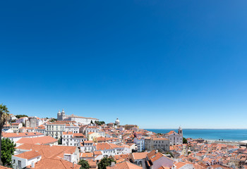 Panoramic of Lisbon downtown Portugal