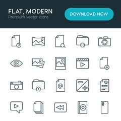 Modern Simple Set of folder, video, photos, files Vector outline Icons. ..Contains such Icons as arrow,  search, business,  confidential and more on white background. Fully Editable. Pixel Perfect