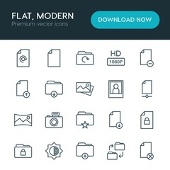 Modern Simple Set of folder, video, photos, files Vector outline Icons. ..Contains such Icons as  lock, upload, portrait, business,  space and more on white background. Fully Editable. Pixel Perfect