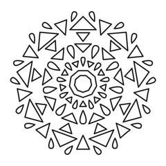 Simple Mandala Shape for Coloring or Decoration. Geometric Mandala. Oriental. Book Page. Outline.