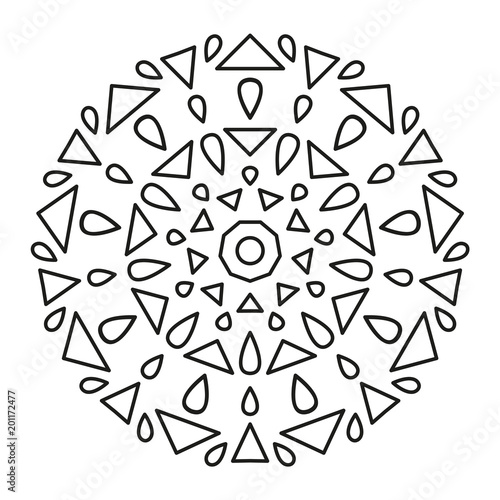Simple Mandala Shape for Coloring or Decoration  Geometric