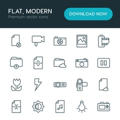 Modern Simple Set of folder, video, photos, files Vector outline Icons. ..Contains such Icons as  symbol, image,  video,  network, music and more on white background. Fully Editable. Pixel Perfect