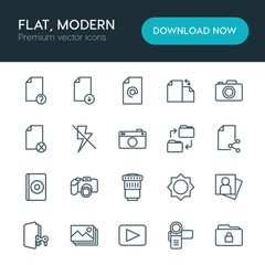 Modern Simple Set of folder, video, photos, files Vector outline Icons. ..Contains such Icons as  internet,  photo,  person,  vector, camera and more on white background. Fully Editable. Pixel Perfect
