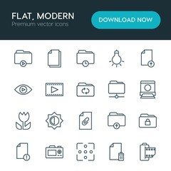 Modern Simple Set of folder, video, photos, files Vector outline Icons. ..Contains such Icons as  camera,  dslr,  movie,  lightbulb,  delete and more on white background. Fully Editable. Pixel Perfect