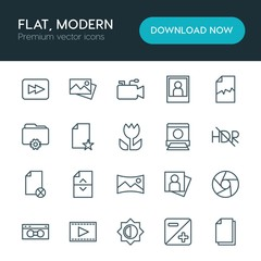 Modern Simple Set of folder, video, photos, files Vector outline Icons. ..Contains such Icons as  document,  cinema,  picture,  capture and more on white background. Fully Editable. Pixel Perfect