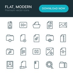 Modern Simple Set of folder, video, photos, files Vector outline Icons. ..Contains such Icons as  background,  scroll,  forward,  icon,  web and more on white background. Fully Editable. Pixel Perfect