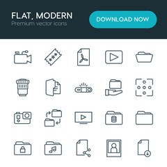 Modern Simple Set of folder, video, photos, files Vector outline Icons. ..Contains such Icons as  blank, microphone,  office, file,  data and more on white background. Fully Editable. Pixel Perfect