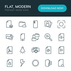 Modern Simple Set of folder, video, photos, files Vector outline Icons. ..Contains such Icons as  technology,  camera,  adult,  phone, mail and more on white background. Fully Editable. Pixel Perfect