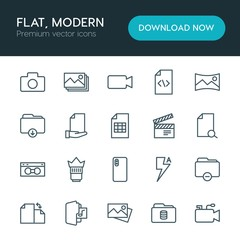 Modern Simple Set of folder, video, photos, files Vector outline Icons. ..Contains such Icons as  download,  vector, panorama,  symbol, lens and more on white background. Fully Editable. Pixel Perfect