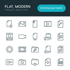 Modern Simple Set of folder, video, photos, files Vector outline Icons. ..Contains such Icons as  internet,  illustration,  forward, upload and more on white background. Fully Editable. Pixel Perfect