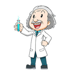 Cartoon character of scientist holding a test tube.