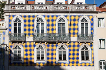 Facade of a house decorated with tiles in Portugal