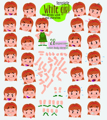 White girl. Twenty eight expressions and basics body elements, template for design work and animation. Vector illustration to Isolated and funny cartoon character.